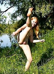 Petite fox Alina strips naked outdoors
