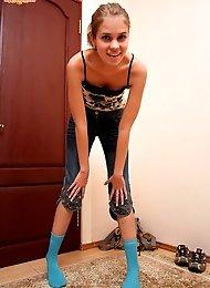 Beauty in blue stockings