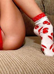 Brunette Teen Wearing Cherry Socks